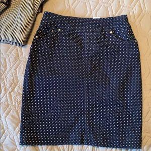 Polka Dot Navy Jean Style Skirt - Size 4